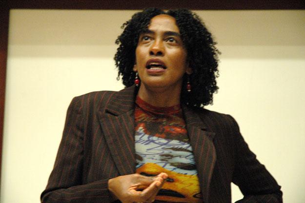 Close-up of Loida Maritza Pérez as she addresses the audience