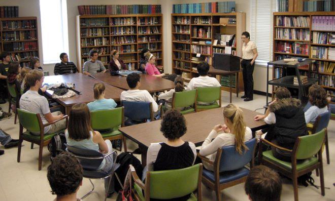 Helena María Viramontes addresses one of Randall Kenan's Creative Writing classes. Greenlaw Hall.